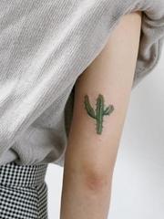 小清新植物纹身可爱的仙人掌纹身图案