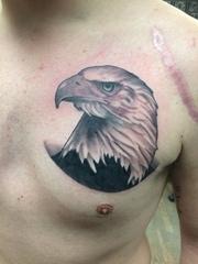 男性左胸部上黑灰色老鹰头纹身图片
