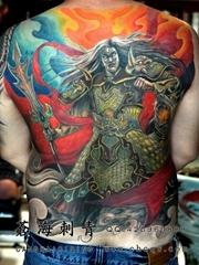 背部霸气二郎神纹身作品图片