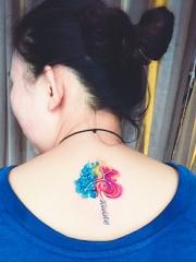 女性背部彩色星座图腾纹身刺青