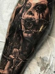超恐怖的黑灰色现实主义纹身图案来自纹身师乔恩