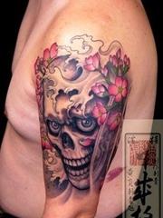 彩色骷髅纹身图案欣赏