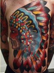 个性的胸口彩色印第安人头像纹身
