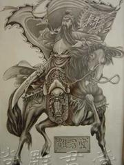 马背上的关羽纹身素材图