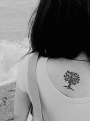 少女后背清纯小树纹身图
