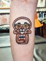 超可爱的纹身卡通人物粉红豹火烈鸟纹身图案