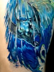 海底鳐鱼彩绘纹身图案