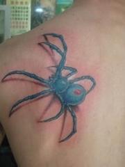后肩部的绿色大3d蜘蛛图案欣赏