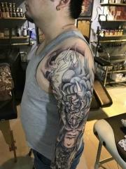 适合男士的花臂般若个性纹身图案