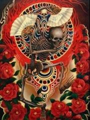 拿扇子的骷髅纹身手稿图
