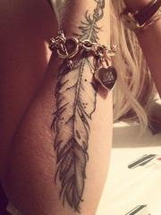 女性手臂唯美漂亮的羽毛纹身图案