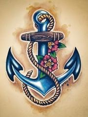 艺术船锚刺青图片
