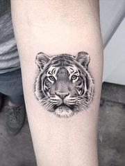 手臂上可爱的黑色动物图案纹身来自于纹身师伊丽莎白