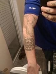 帅气的动物纹身神象和老虎的泰国特色纹身图案