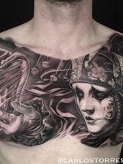 黑灰色大规模的现实主义纹身神话人物纹身图案