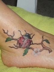 女孩喜欢的小清新3D瓢虫纹身图案