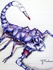 好看的蓝色蝎子纹身手稿图片