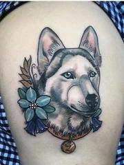 13款可爱的宠物狗纹身动物哈士奇肖像纹身图案