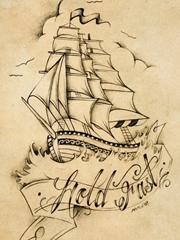 唯美船锚纹身图案
