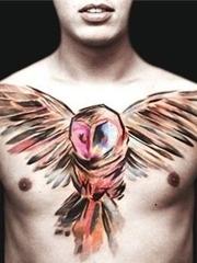 男性霸气的满胸大面积纹身图片
