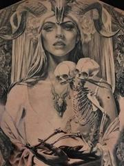多款黑灰色大面积现实主义风格人物纹身图案来自卡洛斯