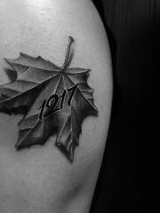 手臂3d效果枫叶纹身图案