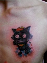 男士胸部彩绘可爱的卡通灰太狼纹身图案