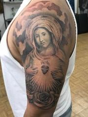 黑色的简易纹身素描风格人物肖像纹身图案