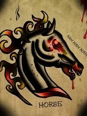 血色残忍斑马头刺青图片