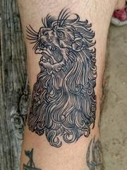 简单个性线条纹身动物狮子头纹身图片