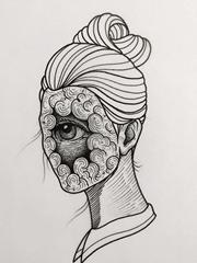 离奇和诡异的人物肖像纹身设计手稿来自纹身师丹尼尔