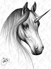 黑白独角兽纹身手稿图