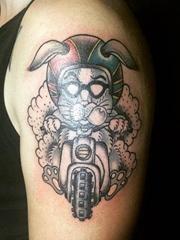 一组男性帅气的关于摩托车骑手主题的纹身图案
