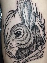 黑色的点刺纹身动物图案纹身简单手稿兔子图案