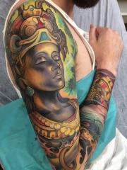 花臂好看的佛像彩色纹身