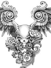很漂亮的黑白骷髅和翅膀手稿图片