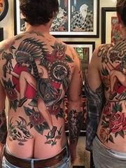大面积传统纹身图案来自纹身师戈登