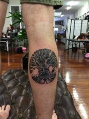 小腿上的形成圆形的大树纹身图片