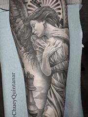 黑灰色经典宗教图像纹身神话人物纹身图案