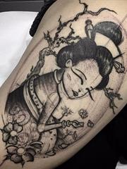 15款水彩纹身日本艺伎纹身人物名妓纹身图案