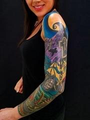 时尚花臂纹身动物们惊魂的圣诞夜纹身图片