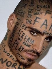面部个性纹身花体英文字脸部传统风格纹身图案