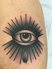 黑色简单个性线条纹身水墨画眼睛纹身图片