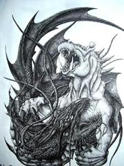黑白龙的战斗图案纹身手稿素材