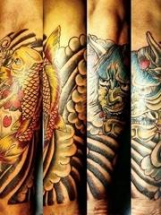 小臂半袖漂亮的鲤鱼般若和船锚纹身图片