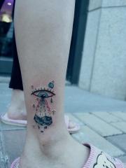 创意钻石眼睛脚踝纹身