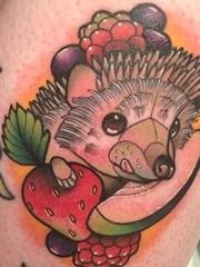 14款风格各异的彩色纹身动物小刺猬纹身图案