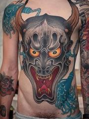 彩色的日本风格纹身般若面具纹身图案