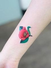 彩色小清新植物纹身小花朵纹身图案