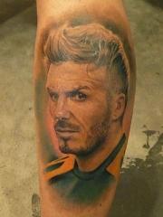 贝克汉姆肖像纹身图案